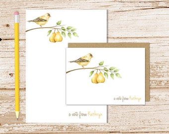pear tree personalized stationery set . autumn notepad + note card set . notecards note pad . watercolor nature, birds stationary gift set