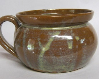 Traditions Pottery handmade Chili, soup, french onion soup bowl with handle, Great for french onion in the oven