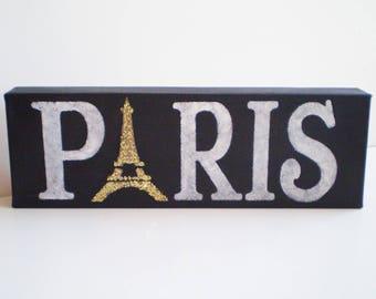 Paris Canvas Sign, Paris Wall Sign, Paris Wall Hanging, Paris Apt Decor, Paris Apartment Decor, French Decor, Eiffel Tower Sign, Paris Sign