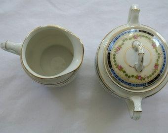 Sugar Bowl & Creamer-Heinrich and Company-Selb, Bavaria-Art Deco-Bone China