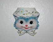 Lefton Miss Priss ~ Vintage Lefton Miss Priss Wall Pocket with Red Foil Sticker ~ 1950's Kitty Cat Wall Vase ~ Excellent Clean Condition
