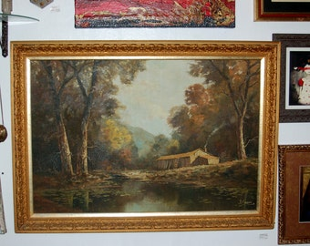 Beautiful Antique Original, oil on canvas, Picturesque Fall Landscape by J. Braun, in its Original Gold Gesso Frame ~ Late 19th early 20th