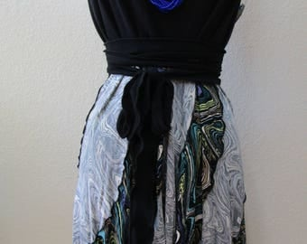 Retro print long skirt or tube dress (v24)