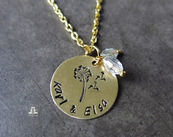 Personalized necklace - dandelion with a name Initial necklace