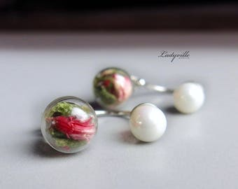 Double Pearl Earrings, Real Flowers and Moss