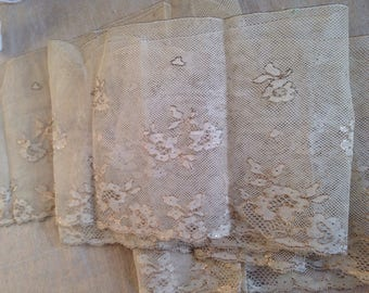 Antique Lace Valenciennes with Golden Embroidery/ Vintage Floral Lace / 224 cm Vintage Wedding Dolls Bears. Home Furnishings Sewing Supplies