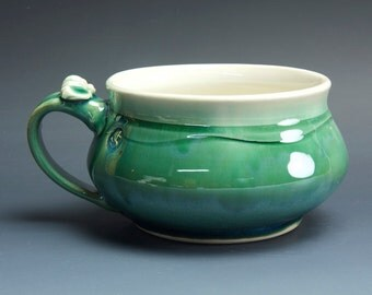 Handmade pottery soup mug ceramic chili mug jade green cereal cup 22 oz  3590