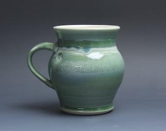 Sale - Pottery coffee mug, ceramic mug, stoneware tea cup jade green 18 oz 3786