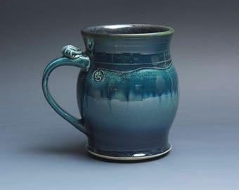 Pottery beer mug, ceramic mug stoneware beer stein deep blue 20 oz 3938