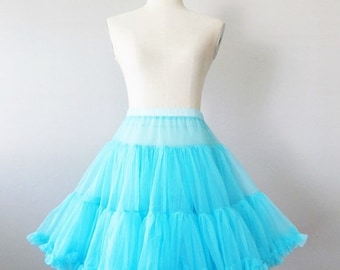 40% OFF SALE Vintage Full Circle Petticoat Skirt / Aqua Blue Soft Nylon Fiesta Dancing Skirt / Turquoise Square Dance Skirt / Size Small