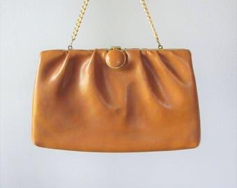 Vintage 1960's Brown Clutch Purse / HL Golden Chain Handle Retro Vinyl Handbag