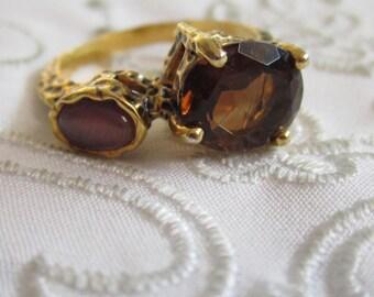 Vintage Gold Tone Large Garnet and Lavender Stone Ring