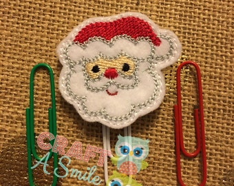 Planner Clip/Accessories - Santa Face Bookmark For Personal Planners, Calendars, Reading Books, etc