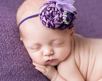 Purplest- shades of purple rosette, tulle flower headband bow