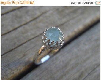ON SALE Medieval ring in sterling silver with a aqua chalcedony