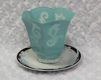 Blue Stenciled Light Shade Candle Holder, Repurposed Glass Globe Candy Dish, Recycled, Handmade, Upcycled Teacup Saucer