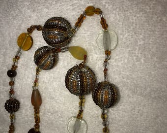 Extra Long Hand Crafted Glass Beaded Bead Necklace