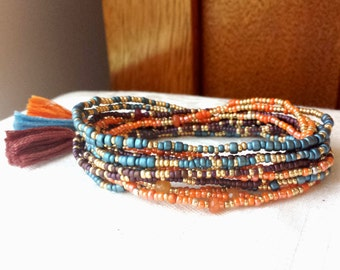 Morocco Long Seed Bead Wrap Bracelet, Necklace on Stretch Cord