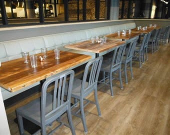 Urban wood restaurant table/pub table, commercial table-clear finish with standard black pedestal base-your choice of size and finish