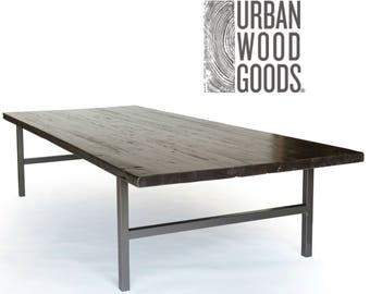 Industrial Reclaimed Wood Conference/Commercial/Office Table with dark walnut finish in pic 1, steel legs-choice of color, size, finish.
