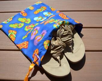 Flip Flop Mania Drawstring bags (set of 2) - Travel Shoe Bags - Swimsuit Bag - Project Bag