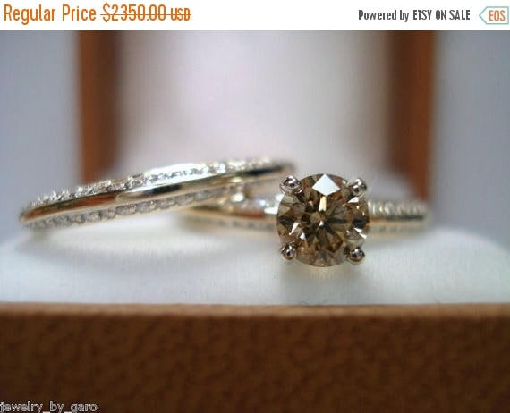 ON SALE 14K Yellow Gold Fancy Champagne & White Diamonds Engagement Ring And Wedding Band Sets 1.04 Carat HandMade