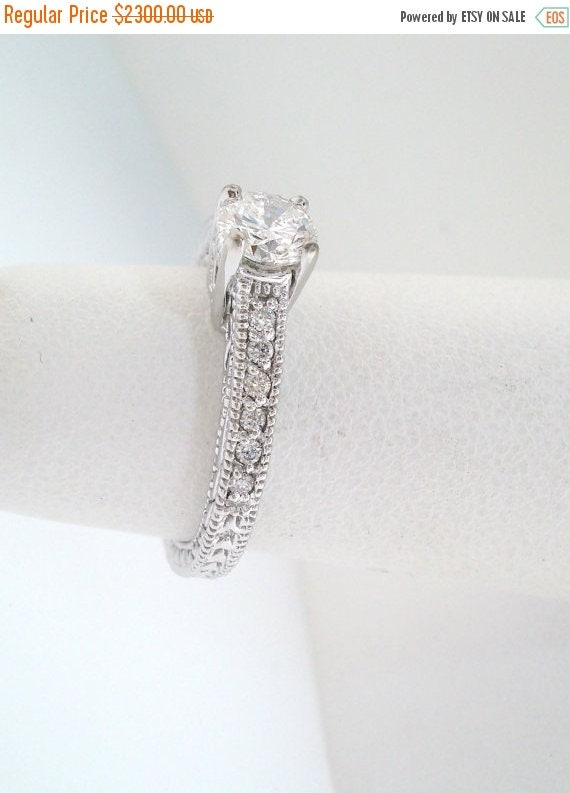 ON SALE Diamond Engagement  Ring 0.64 Carat Certified 14K White Gold Vintage Antique Style Engraved Handmade