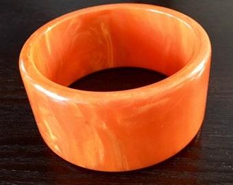 Vintage Bakelite Paprika Orange Marble Bangle Bracelet, Extra Wide Shape