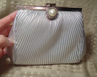 1994 Silver Lame Shoulder Bag Clutch Bag.