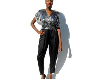 Black and metallic silver printed dolman sleeve harem pantsuit 1980s 80s VINTAGE