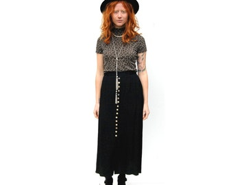 SALE!!!!!!!!!!! Black maxi skirt with contrasting shell buttons 1990s 90s VINTAGE