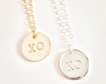 XO Round Disc Charm Necklace, gold filled or sterling silver