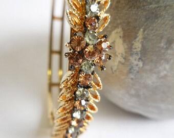 Vintage Bracelet Sage green & amber brown Rhinestones  Gold tone flower leaves sparkly bangle w/ chain