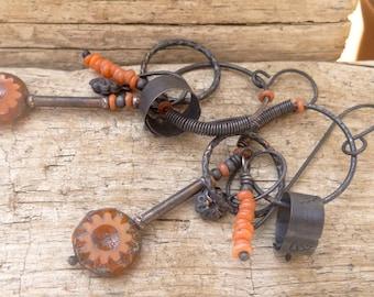 Spring Swinging Mix Copper Burnt Orange Flower Earrings