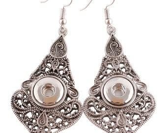 Long filigree mini snap earrings will fit petite Ginger Snaps 12 mm snap buttons, chandelier earrings for small snaps. SALE Price