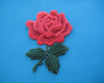 SALE~ Iron-On embroidered Patch Red Rose 3.1 inch