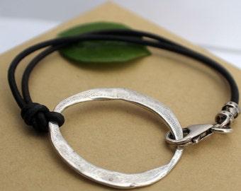 Artisan Leather Bracelet Large Sterling Link