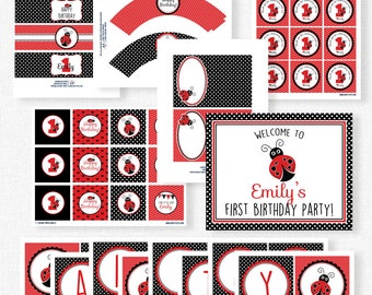 Ladybug Birthday Party Printables, Red Ladybug Party Decorations, Red and Black Party, Little Lady Birthday