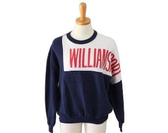 50% off sale // Vtg 80s Williamsport High School Sweatshirt / navy blue cotton blend / Men Women L, University Place Clothing Co