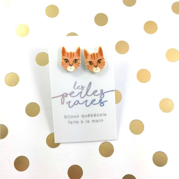 red cute kitty, little cat, orange, cat, earring, catlover,  plastic, stainless stud, handmade, les perles rares