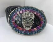 Day of the Dead Belt, Skull Buckle, Buckles for Women, Cinco de Mayo Belt, Camilla Klein, Mosaic Buckle, Custom Belt Buckle, Belt with Skull