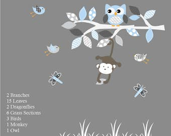 Vinyl Wall Decal  Nursery Wall Decal Blue Baby Tree with Animals Vinyl Wall Decal