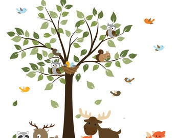 A Walk in The Forest Wildlife Animal Stickers Wall Decals Children Bedroom Kids Wall Decal Nursery Wall Decal Baby Forest Decal