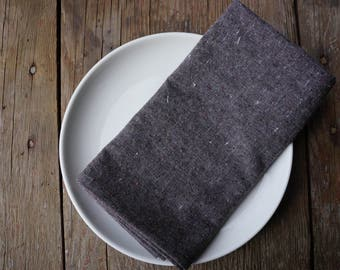 organic cloth napkins, granite, recycled organic cotton + hemp, set of 2, eco-friendly, reusable, sustainable, cloth dinner napkins