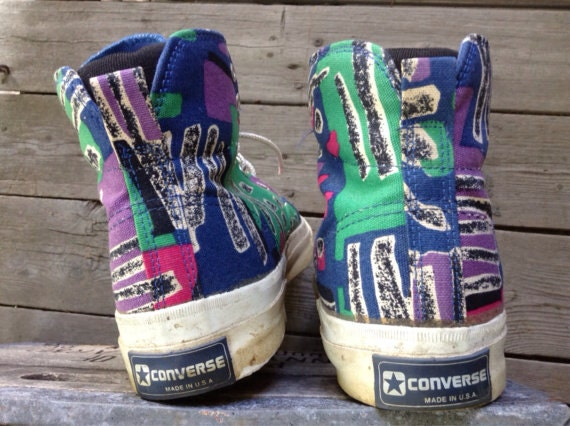1980s Converse Skidgrip patterned canvas hi tops, made in USA