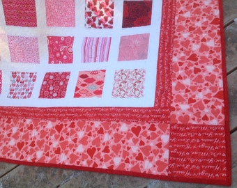Simply BE MINE 54 x 60 lap quilt in Valentine colors with hearts and flowers