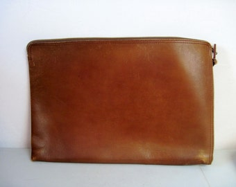 Vintage zippered Leather document file laptop case pouch