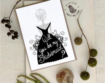 Will you be my Bridesmaid card. Bridesmaid Invitation. Bridal party card.
