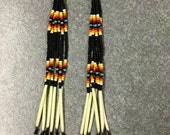 "7"" Long Black Beaded Porcupine Quill Earrings"