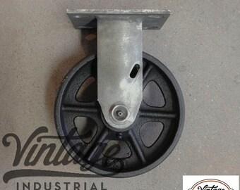 "Antique Industrial 6"" Rigid Caster, Cast Iron Wheel - Vintage 6RC"
